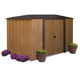 Abri de jardin en acier galvanis imitation bois 4 58 m hors tout plantes et jardins - Abri de jardin acier galvanise nice ...