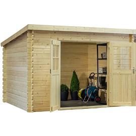 abri de jardin monopente 8 18 m2 bois 28 mm avec auvent de 9 m2 plantes et jardins. Black Bedroom Furniture Sets. Home Design Ideas