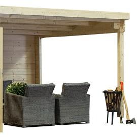 Abri de jardin monopente 8 18 m2 bois 28 mm avec auvent de for Bear county abri de jardin