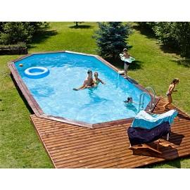 piscine confort de luxe 602 x 352 cm margelle double bois exotique liner bleu plantes. Black Bedroom Furniture Sets. Home Design Ideas