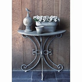 Demi table en zinc gris l 80 cm plantes et jardins for Table exterieur zinc