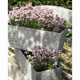 jardini re fibre de ciment longueur 60 cm gris clair plantes et jardins. Black Bedroom Furniture Sets. Home Design Ideas