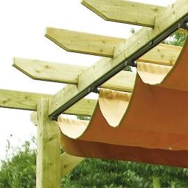 pergola rowlinson en bois avec toile coulissante plantes et jardins. Black Bedroom Furniture Sets. Home Design Ideas