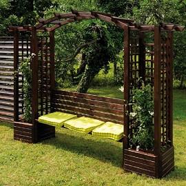 pergola florence en bois autoclave avec banc et bacs fleurs jardipolys plantes et jardins. Black Bedroom Furniture Sets. Home Design Ideas