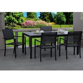 Table salsa pour 6 personnes en aluminium et plateau en lave 180x100cm anthracite noir - Salon de jardin en teck gamm vert ...
