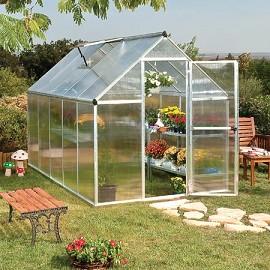 serre de jardin mythos 5 7 m2 polycarbonate double paroi embase plantes et jardins. Black Bedroom Furniture Sets. Home Design Ideas