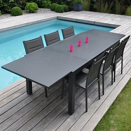 Table factory 200x300cm en aluminium plateau en fibre de ciment anthracite plantes et jardins for Avis table de jardin alu fibre de ciment