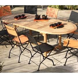 table ovale en teck rallonge papillon 200 300 x 110 x 75 plantes et jardins. Black Bedroom Furniture Sets. Home Design Ideas
