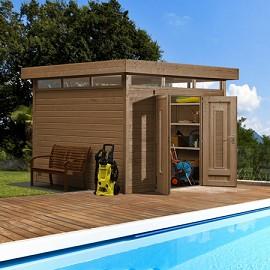 Abri de jardin m2 bois 28 mm pefc toit plat double for Bear county abri de jardin
