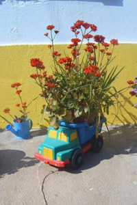 N'importe quel objet peut accueillir des fleurs, ici un jouet