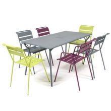Salon de jardin Fermob Monceau : Table l146 L80 cm + 4 Chaises + 1 ...