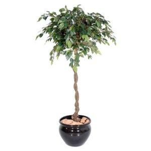 Ficus Boule Natasja 1m40 + pot (tronc naturel, feuillage artificiel)