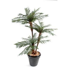 Palmier 3 Troncs, 2m (tronc en fibre de verre, feuillage artificiel) + pot classique (Chamaerops)