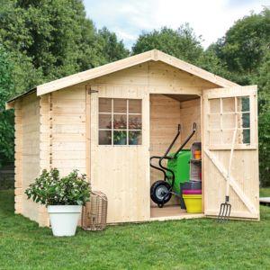 Abri de jardin bois en kit à monter soi-même, large double porte, sapin du nord naturel Plantes et Jardins- Jardinerie en ligne