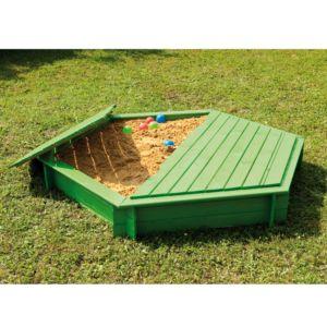 Bac à sable en bois traité carré avec couvercle et feutre géotextile
