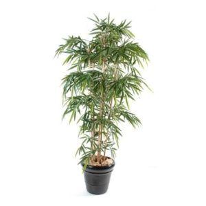 Bambou 6 chaumes, 1m20 (tronc naturel, feuillage artificiel) + pot classique ()