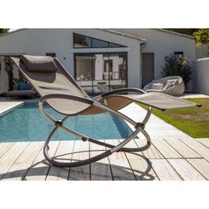Bain de soleil à bascule Cercle aluminium/textilène taupe