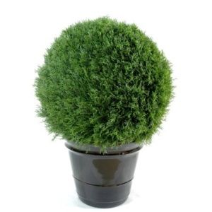 Cyprès mini boule new (sans tronc, feuillage artificiel) Diam. 60 cm+ pot classique