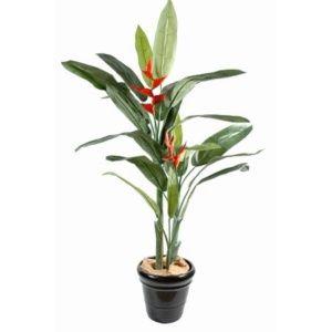 Heliconia 170 cm  (tronc fibre de verre, feuillage artificiel) + pot classique