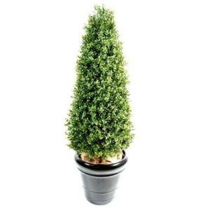 Buis topiaire en cône hauteur 1m30 (feuillage artificiel)  + pot classique (Buxus sempervirens)