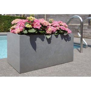 Pot de fleurs rectangulaire fibre de terre gris, léger, résistant au soleil et à la pluie, indéformable, Plantes et Jardins – Jardinerie en ligne