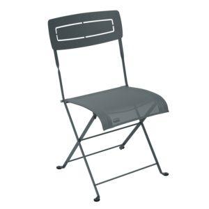 Chaise pliante Fermob Slim acier/textilène gris orage