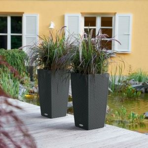 Pot Lechuza Cubico Cottage L30 H56 cm granit