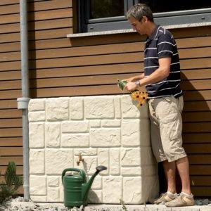 Récupérateur d'eau Brik Murale 340 litres, sable, Garantia