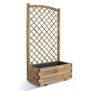 Bac à fleurs et treillis en bois traité Lierre L80 H152 cm