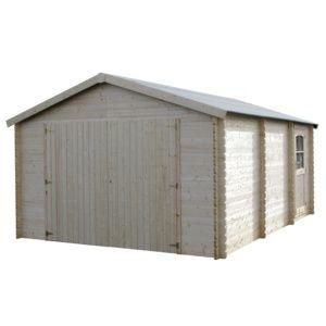 Garage en bois massif d'épaisseur 34 mm 21,04 m², modèle Garodeal. PLANTES ET JARDIN – Jardinerie en ligne