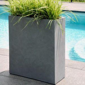 Pot de fleurs rectangulaire fibre de terre gris, solide et léger, résistant aux intempéries et aux UV Plantes et Jardins – Jardinerie en ligne