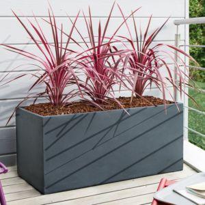 Pot de fleurs rectangulaire fibre de terre, léger et rigide, résistant aux intempéries, indéformable Plantes et Jardins – Jardinerie en ligne