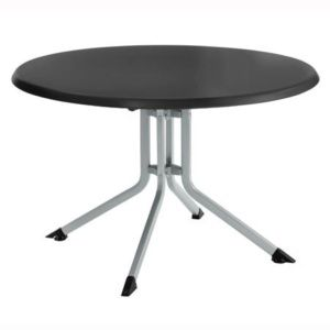 Table pliante Ø 115 cm – Argent / anthracite – Kettler