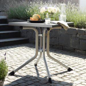 Table de jardin pliante en résine haut de gamme et aluminium Kettler L80 l80 cm argent/gris PLANTES-ET-JARDINS – Jardinerie en ligne