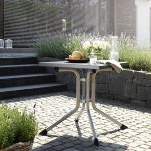 Table pliante 80 x 80 x 74 cm – Argent / Anthracite – Kettler