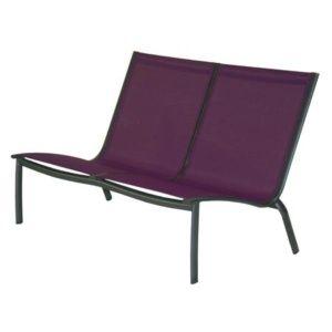 Banquette lounge Linea aluminium/textilène cassis