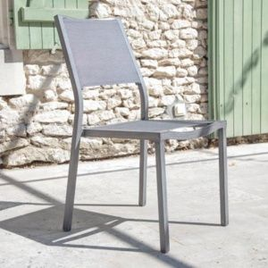 Chaise Florence en aluminium et textilène de couleur ice argent