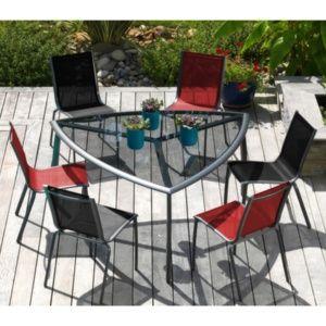 Table triangle Malaga pour 6 personnes en aluminium et verre fumé coloris gris