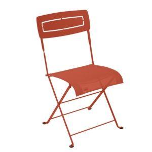 Chaise pliante Fermob Slim acier/textilène paprika