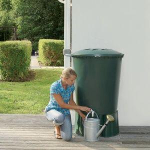 Récupérateur d'eau cylindrique vert 310L Garantia Plantes et Jardins Jardinerie en ligne