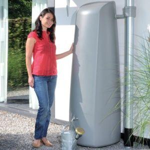 Récupérateur d'eau mural Elegance 400L Gris Garantia Plantes et Jardins Jardinerie en ligne