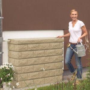 Récupérateur d'eau mural Rocky Sable 400L Garantia Plantes et Jardins Jardinerie en ligne