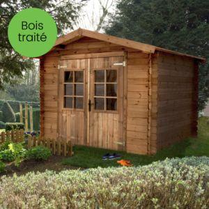 Abri de jardin en bois traité et coloré marron 7.37 m² madriers d'épaisseur 19 mm Plantes et Jardins – Jardinerie en ligne