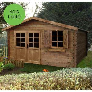 Abri de jardin bois traité Zahora 17,39 m² Ep. 28 mm