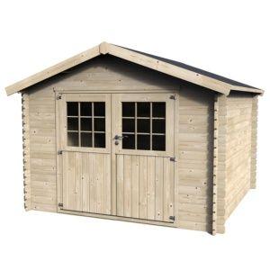 Abri de jardin bois labellisé PEFC, en kit à monter soi-même, double porte finition Premium, toiture bois massif Plantes et Jardin jardinerie en ligne
