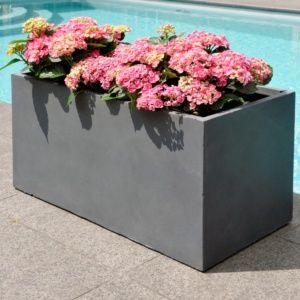 Bac à fleurs fibre de terre Clayfibre L80 H40 cm anthracite