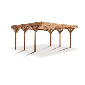 Carport double bois traité Madeira Enzo 30,98 m² 2 voitures