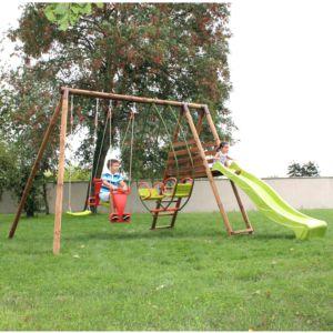 Station de jeux complète en  bois traité Hellébore