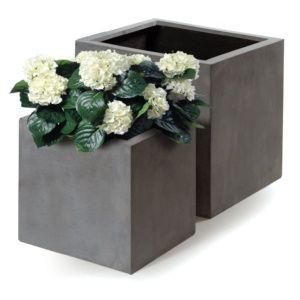 Bac à fleurs polystone L40 H40 cm anthracite