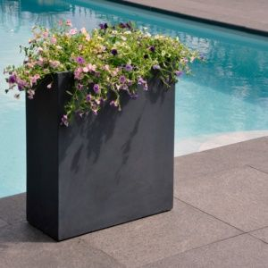 Pot de fleurs rectangulaire fibre de terre anthracite, léger et solide, résistant aux intempéries et aux UV Plantes et Jardins – Jardinerie en ligne